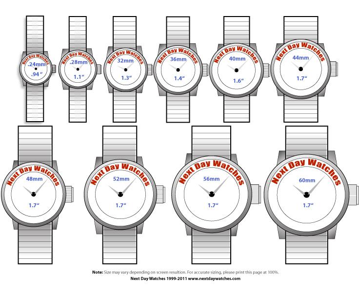 Watches Diameter Chart